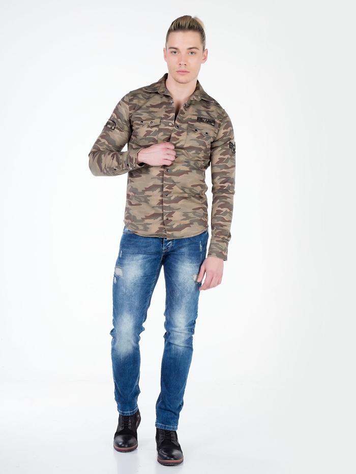 Рубашка Cipo&Baxx CH130 Карамельная
