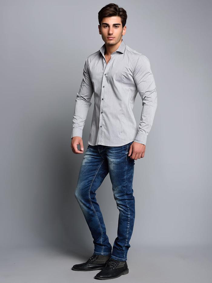 Рубашка Cipo&Baxx CH113 Светло-серая